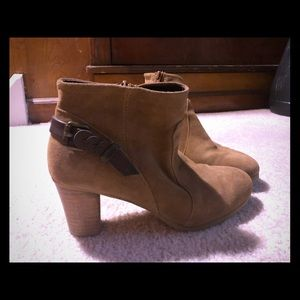 Tan block heel boots with ankle strap detail
